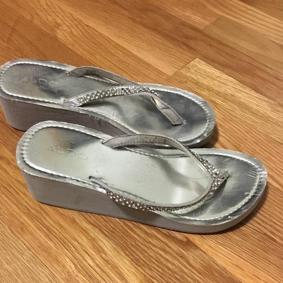 bf1ec5a6a7c Aldo Shoes - Silver Wedge Flip Flops - Aldo